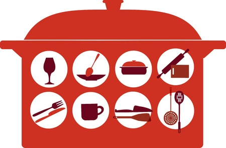pot with kitchenware set Vector