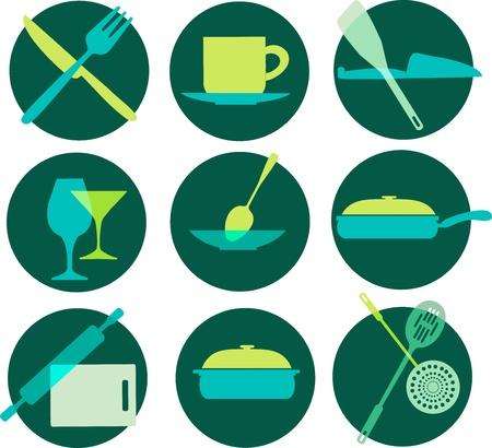 kitchenware icon set on green Vector
