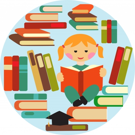 girl reading on pile of books Stock Vector - 14856066