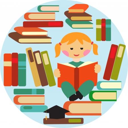 literature: girl reading on pile of books Illustration