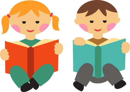 children book: boy and girl reading books