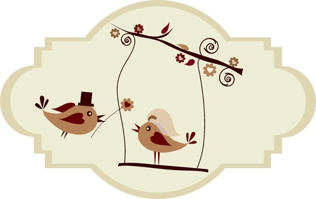 marriage cartoon: Wedding card; groom bird giving a flower