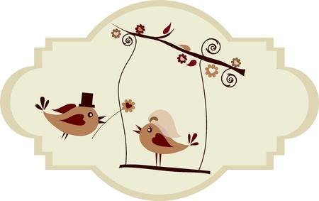 Wedding card; groom bird giving a flower