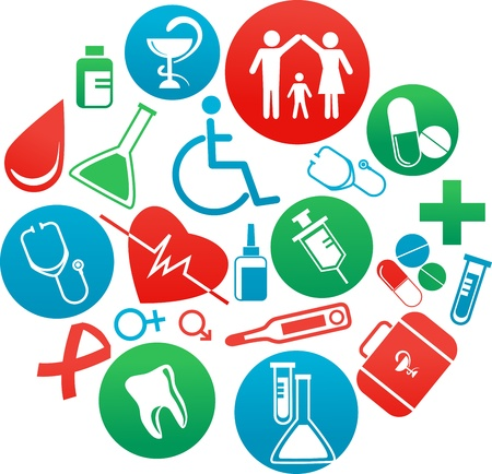 background with medicine icons and elements Illustration