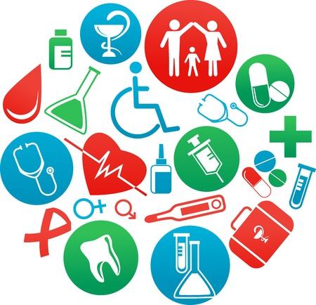 nurse injection: sfondo con le icone di medicina e gli elementi Vettoriali