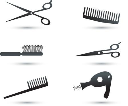 peigne et ciseaux: Accessoires pour cheveux ic�nes et des �l�ments