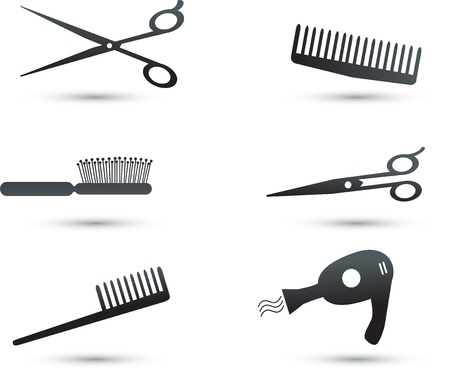 hair salon: Hair accessories icons and elements