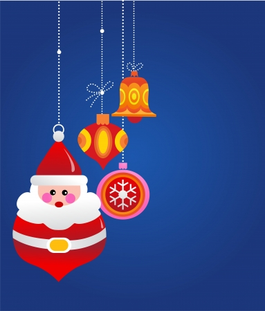 Christmas greeting card with santa and ornaments Stock Vector - 15996019