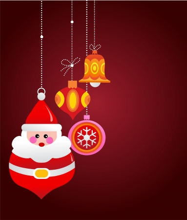 Christmas greeting card with santa and ornaments Vector