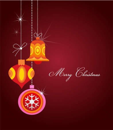 Christmas greeting card with balls and ornaments Vector