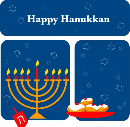 jewish new year: vector illustration of menorah and Hanukkah Illustration