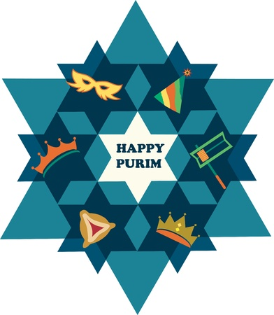 Happy Purim  David star with objects of jewish holiday Vector