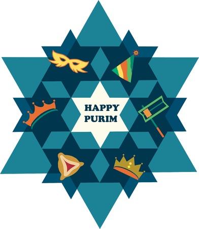 etoile juive: Heureux de Purim �toile de David avec des objets de f�te juive Illustration