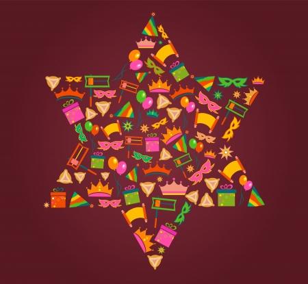 estrella de david: Estrella de David con objetos de purim vacaciones