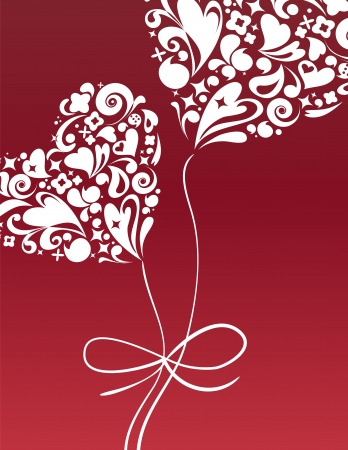 Valentine s card with heart balloon Vector