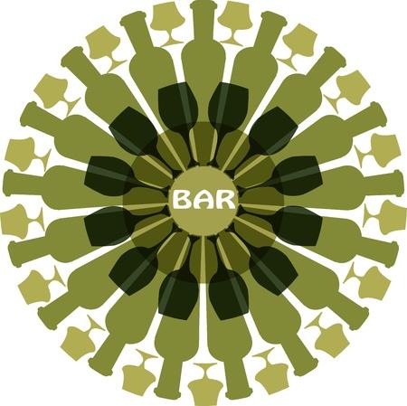 black beer: bottles and glasses arranged as flower Illustration