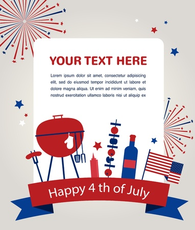 bbq background: HAPPY independence day of america, card or invitation template  Illustration