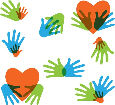 helping: Hands and Love abstract icons collection isolated on white