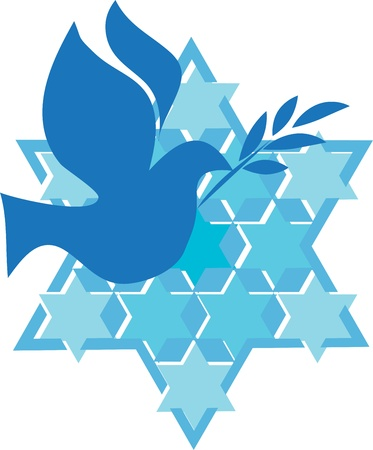 independence day of Israel, david star and peace white dove Vector