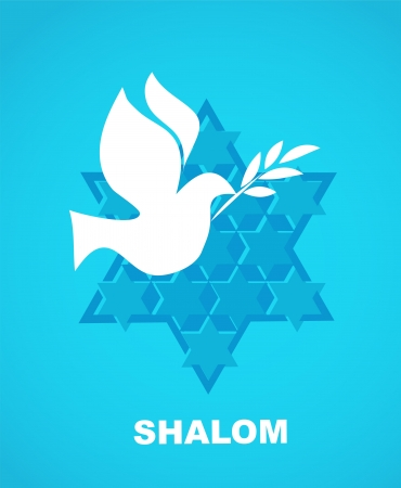 shalom: independence day of Israel, david star and peace white dove