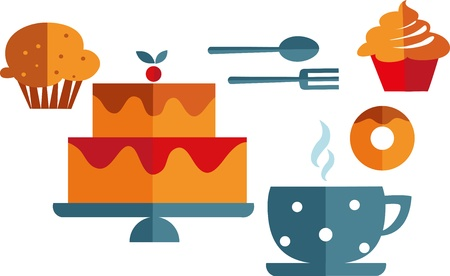 bakery shop: breakfast with muffins and coffee Illustration