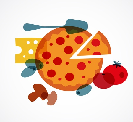 onion slice: Pizza with its ingredients Illustration