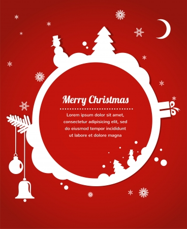 christmas card with snowman, present and christmas tree Vector