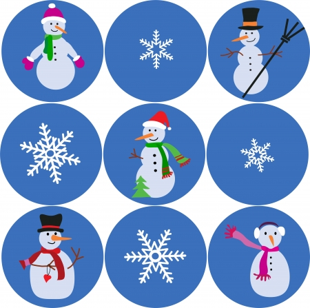 carrot nose: collection of different snowmen and snowflake, merry christmas Illustration