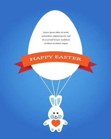 Happy easter cards illustration with easter eggs, easter bunny, easter rabbit and font Vector