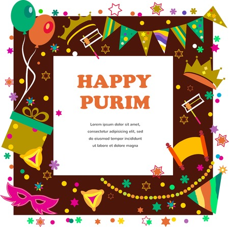 judaism: Jewish holiday Purim set of elements for design. Vector illustration Illustration