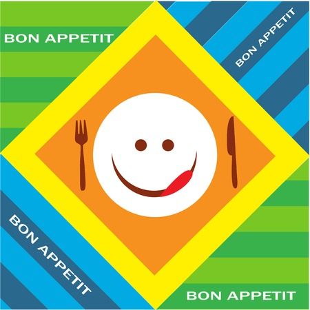 Hungry emoticon with fork and knife, bon appetitte Vector