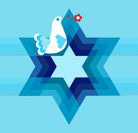 peace pigeon with david star on blue Vector
