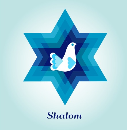 jewish symbols: template card with jewish symbols and peace dove Illustration