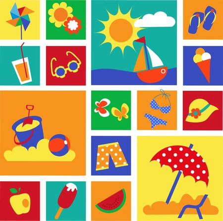 watermelon boat: colorful set of summer icons. happy holidays