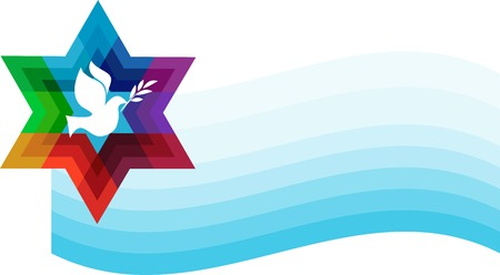jewish star: peace pigeon on background of blue waves. illustration