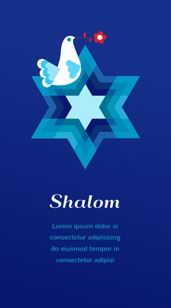 shalom: white peace pigeon on blue background. Shalom and peace symbols Illustration