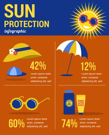 sun tanning: sun protection infographics at summer time. illustration