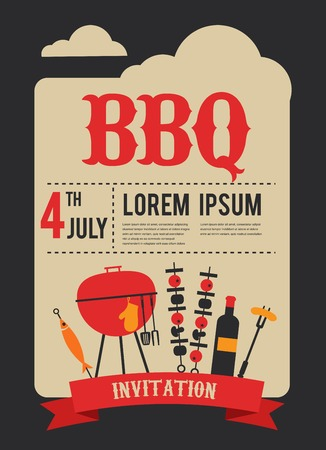 4th of July, BBQ party invitation. illustration
