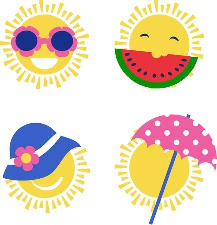 happy summer: four sun icons. happy summer holidays. illustration