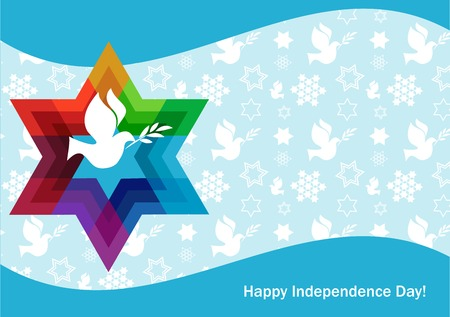 bird of israel: independence day of Israel, david star and peace white dove . illustration Illustration