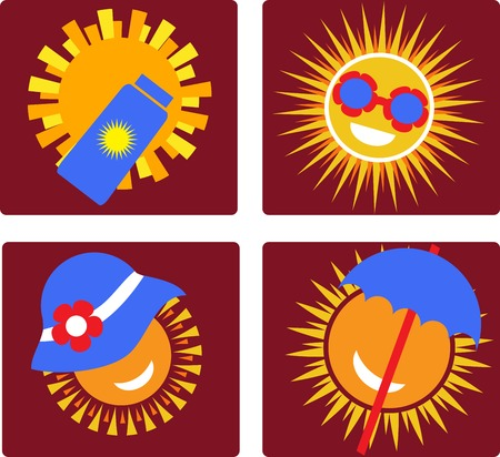 suntan lotion: set of 4 icons of sun protection. illustration