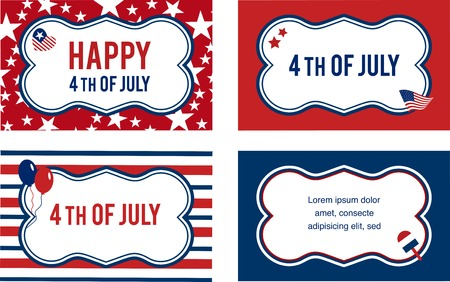 Vector 4th of july labels or cards . illustration Vector