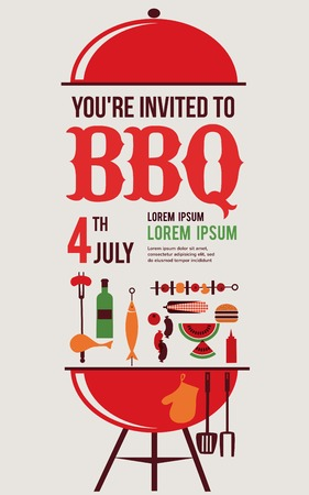 bbq picnic: HAPPY independence day of America, card or invitation template