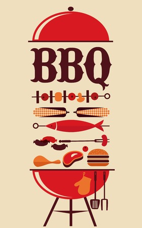 bbq: HAPPY independence day of America, card or invitation template