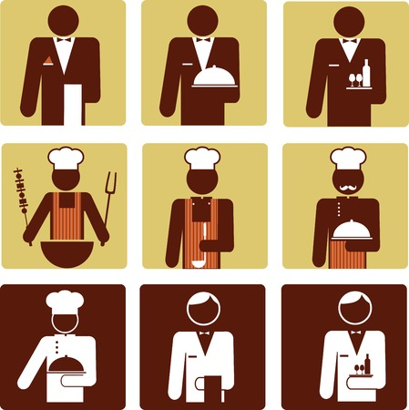nine chef and waiter icons . vector illustration Vector