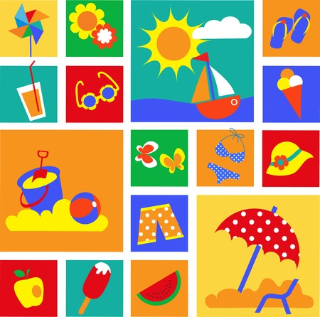 watermelon boat: colorful set of summer icons. happy holidays . illustration