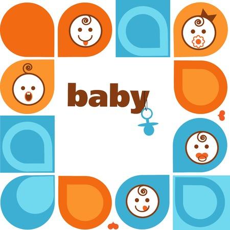 vintage baby: Vector vintage  frame with smiling baby faces . illustration Illustration