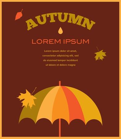 umbrela: autumn time. umbrela with falling leafs. illustration