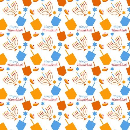 pattern with Hanukkah symbols. colorful vector illustration