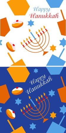 pattern with Hanukkah symbols. colorful vector illustration illustration